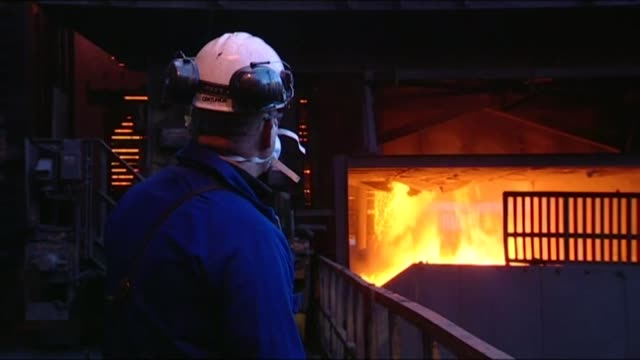 owner of redcar steel plant goes into liquidation unidentified date and specific location various of molten metal being poued from large vat in steel... - vat stock videos & royalty-free footage