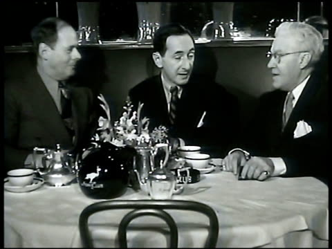 owner sherman billingsley & broadway columnist leonard lyons at booth table male sitting unidentified. leonard lyons sot talking about the club.... - journalist stock videos & royalty-free footage
