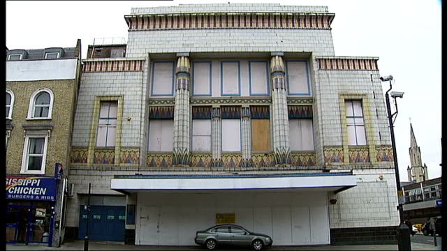 Owners of Carlton Cinema apply for permission to renovate ENGLAND London Islington EXT Art Deco exterior of former Carlton Cinema Egyptian motifs on...