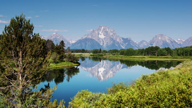 curvatura di oxbow 0039 - parco nazionale del grand teton video stock e b–roll