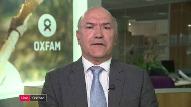 oxfam deputy chief executive stands down over abuse scandal england london gir int mark goldring live 2way interview from oxford sot - cathy newman stock-videos und b-roll-filmmaterial