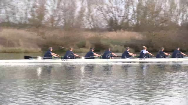 oxford and cambridge university boat race 2015 preview of first women's race england ext oxford university crew rowing along river during training... - oxford england stock videos & royalty-free footage
