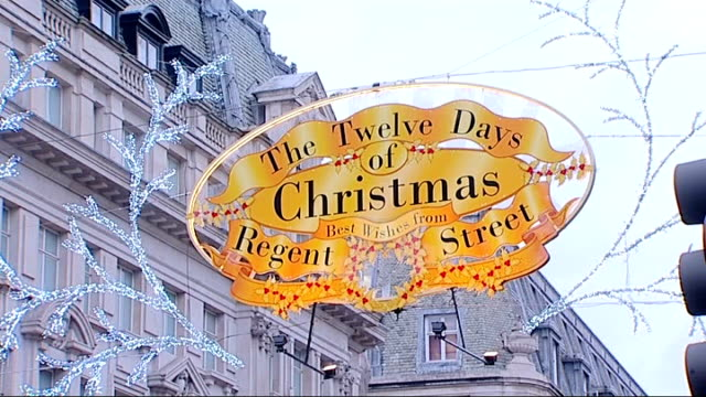 oxford and regent streets to be pedestrianised for a day to encourage christmas shoppers; england: london: oxford circus: ext bus 'victoria c2' along... - christmas decoration stock videos & royalty-free footage