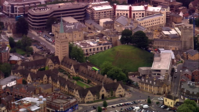 aerial, oxford castle mound, oxford, england - oxford oxfordshire stock-videos und b-roll-filmmaterial
