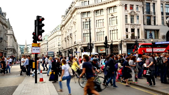 oxford circus in london, time lapse - oxford circus stock videos and b-roll footage