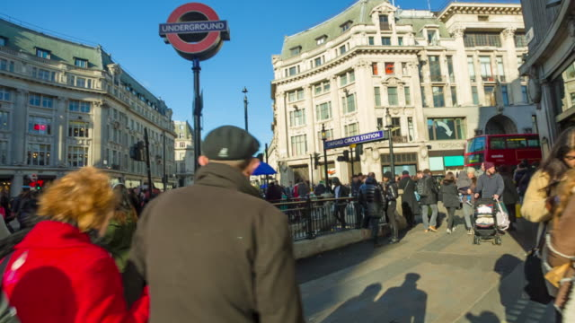 oxford circus underground station in london. - entrance sign stock videos & royalty-free footage