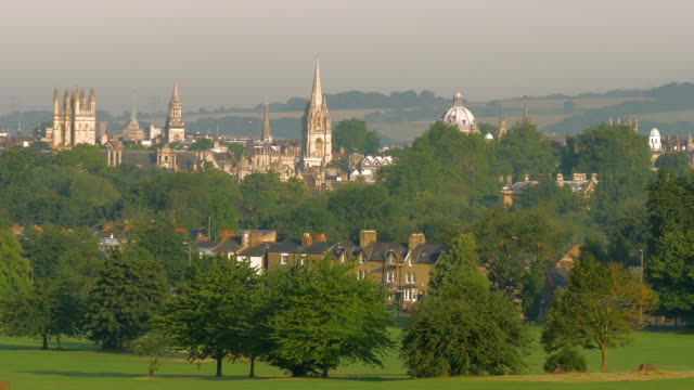 oxford cityscape spires,ws,zo - oxfordshire stock videos and b-roll footage