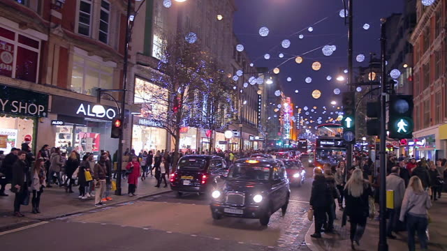 oxford st xmas in london - oxford street london stock videos and b-roll footage