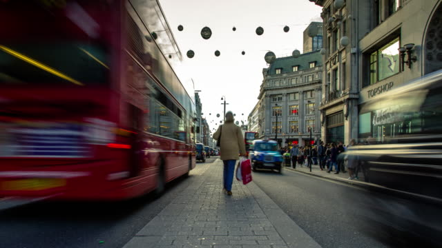oxford street at christmas - time lapse - oxford street london stock videos and b-roll footage