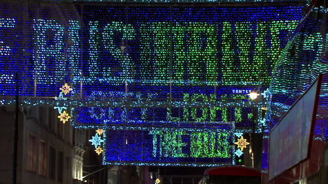 oxford street christmas lights with text thanking keyworkers during the coronavirus pandemic - fairy lights stock videos & royalty-free footage