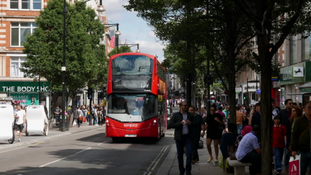 oxford street in london - double decker bus stock videos and b-roll footage