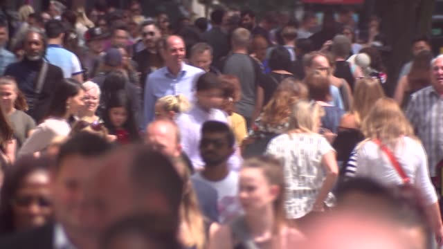oxford street pedestrians and traffic general views england london oxford street ext various of crowds along street shot from top of bus as along... - oxford street london stock videos and b-roll footage