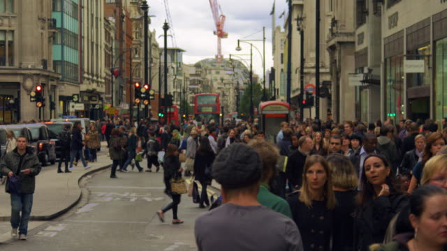 london - october 8: oxford street traffic in slow motion on october 8, 2011 in london. - oxford street london stock videos and b-roll footage
