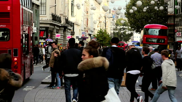 oxford street2 - oxford circus stock videos and b-roll footage
