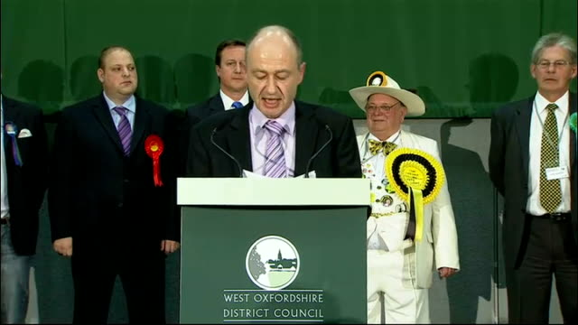 oxfordshire: witney: int returning officer making declaration of results for witney constituency - held for conservatives by david cameron david... - length stock videos & royalty-free footage