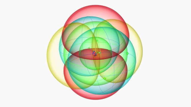 oxygen atom. diagram of an atom of the element oxygen, showing the central nucleus surrounded by its electron orbitals. - neutron stock-videos und b-roll-filmmaterial
