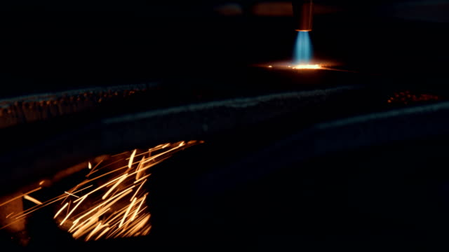 oxygen cutting of metal sheet - metalwork stock videos & royalty-free footage