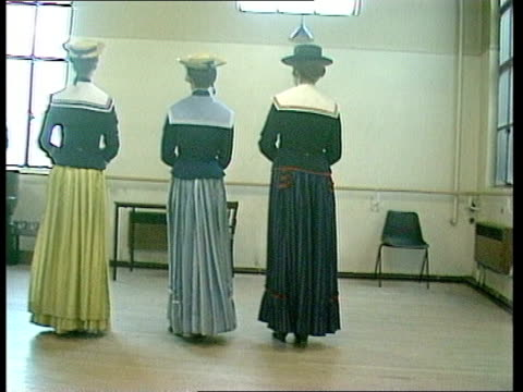 """oyly carte; england: london girl rehearsing for """"hms pinafore"""" ditto ditto long skirts round tilt up to girls girl vox pops sof: """"in... - only girls stock videos & royalty-free footage"""