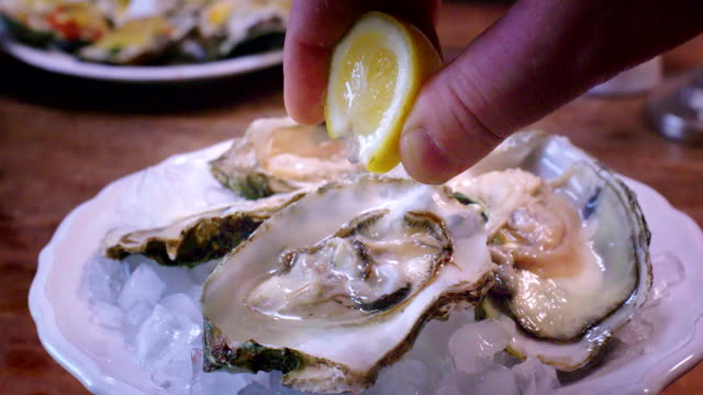 Oysters on plate with ice and lemon
