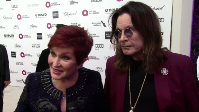 INTERVIEW Ozzy Osbourne and Sharon Osbourne at the 23rd Annual Elton John AIDS Foundation Academy Awards Viewing Party Sponsored By Chopard Neuro...