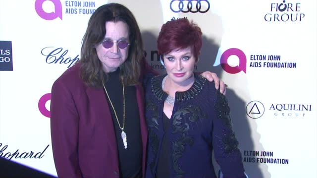 ozzy osbourne and sharon osbourne at the 23rd annual elton john aids foundation academy awards viewing party sponsored by chopard neuro drinks and... - ozzy osbourne stock videos & royalty-free footage
