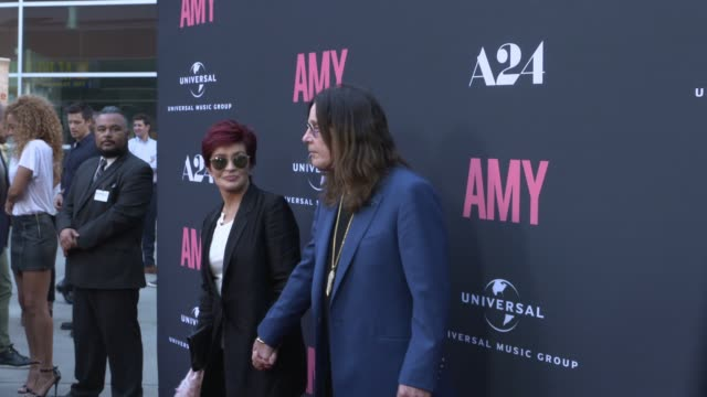 ozzy osbourne and sharon osbourne at the us premiere of amy presented by chairman ceo of universal music group lucian grainge cbe along with... - ozzy osbourne stock videos & royalty-free footage