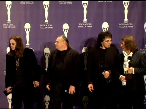 ozzy osbourne bill ward tony iommi and geezer butler of black sabbath inductees at the 21st annual rock and roll hall of fame induction ceremony... - ozzy osbourne stock videos & royalty-free footage