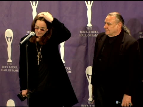 ozzy osbourne bill ward tony iommi and geezer butler of black sabbath inductees on finally eing inducted into the rock and roll hall of fame at the... - hall of fame stock videos and b-roll footage