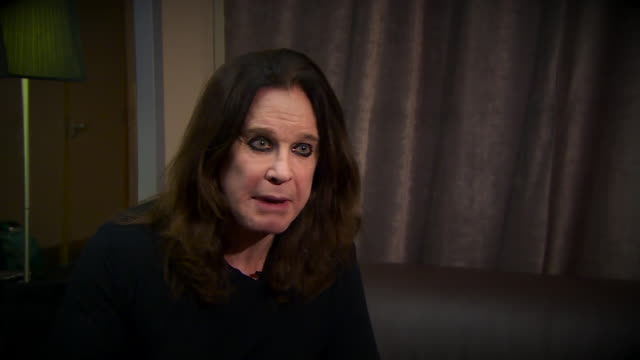 ozzy osbourne describing his career with black sabbath as like being put in a barrel rolled down the biggest mountain ever and coming out 49 years... - ozzy osbourne stock videos & royalty-free footage