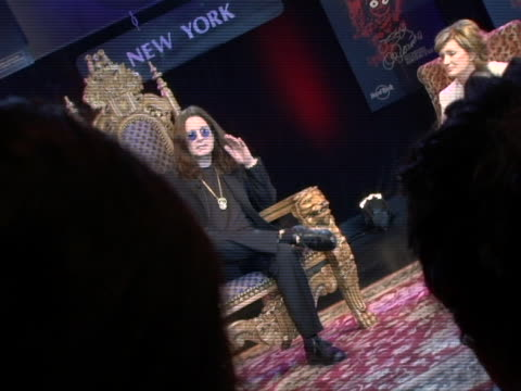 ozzy osbourne talks about the osbournes and reality shows at the ozzy and sharon osbourne appear at hard rock cafe to unveil signature series tshirt... - sharon osbourne stock videos & royalty-free footage