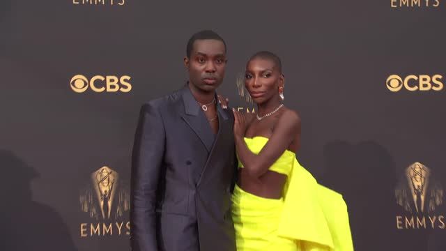 paapa essiedu and michaela coel arrive to the 73rd annual primetime emmy awards at l.a. live on september 19, 2021 in los angeles, california. - emmy awards stock videos & royalty-free footage