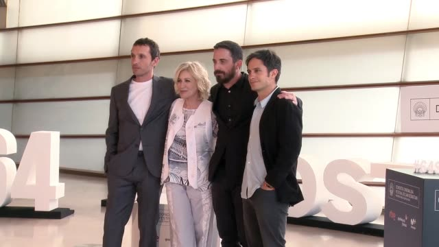 Pablo Derqui Mercedes Moran Pablo Larrain and Gael Garcia Bernal attend 'Neruda' photocall during 64th San Sebastian Film Festival at Kursaal on...
