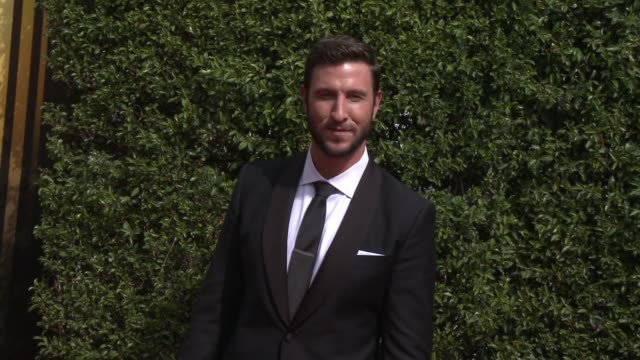 pablo schreiber at the 2015 creative arts emmy awards at microsoft theater on september 12, 2015 in los angeles, california. - パブロ シュライバー点の映像素材/bロール