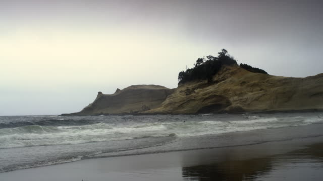 pacific city state park beach oregon in the rain - pacific city stock videos & royalty-free footage