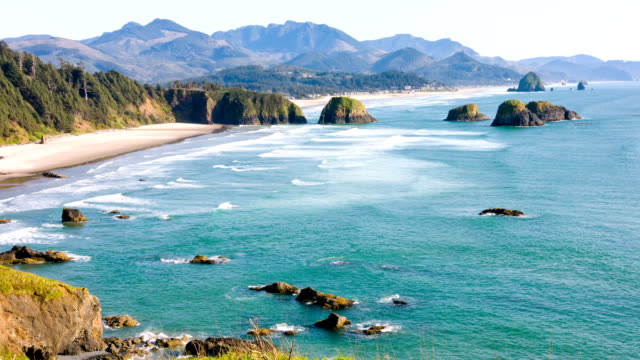pacific coast at cannon beach - oregon coast stock videos & royalty-free footage