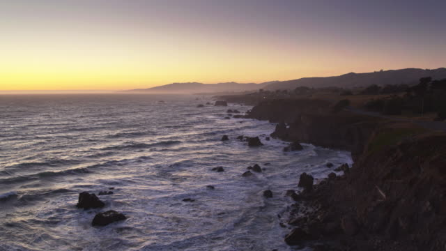 pacific coast highway following clifftops at north salmon creek beach, sonoma, california - north pacific stock videos & royalty-free footage