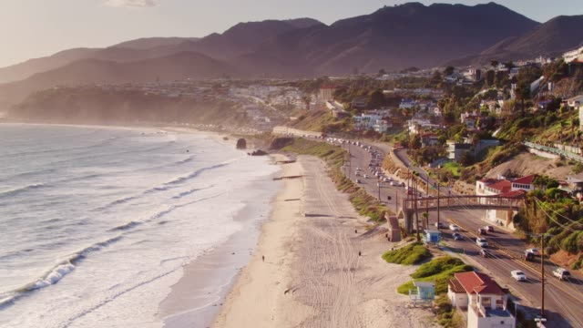 pacific coast highway in malibu - drone shot - malibu stock videos & royalty-free footage