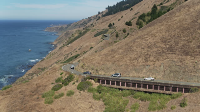 pacific coast highway near jenner, ca - drone shot - pacific coast stock videos & royalty-free footage