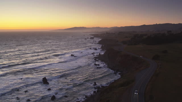 pacific coast highway on cliffs above north salmon creek beach, sonoma, california - drone shot - north pacific stock videos & royalty-free footage