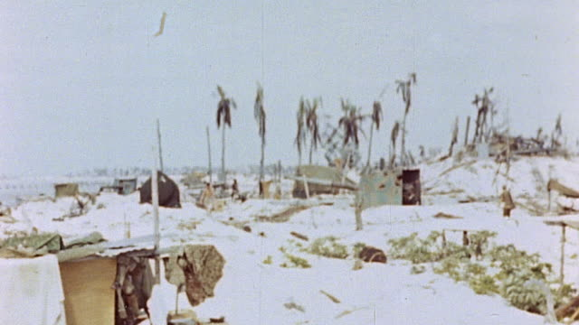 vídeos de stock, filmes e b-roll de pacific island beach with damaged palms, tents, and marines after battle - superexposto
