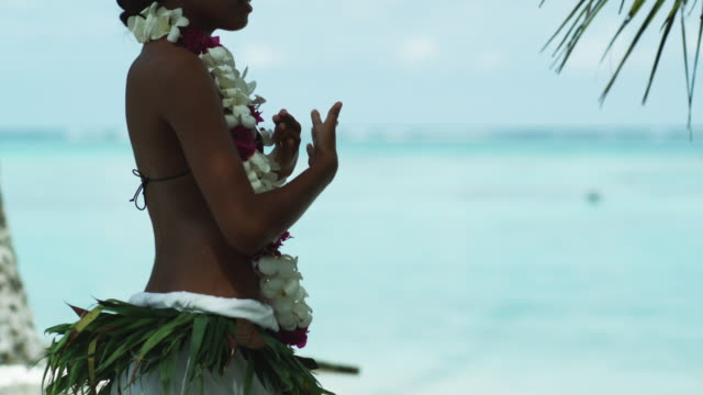 pacific island dancer - tahaa island stock videos & royalty-free footage