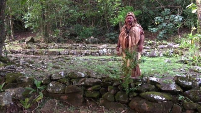 pacific islander tribal chief man in ancient maori marae in rarotonga cook islands - rarotonga stock videos & royalty-free footage