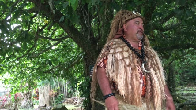 pacific islander tribal chief man in ancient maori marae in rarotonga cook islands - polynesian ethnicity stock videos & royalty-free footage