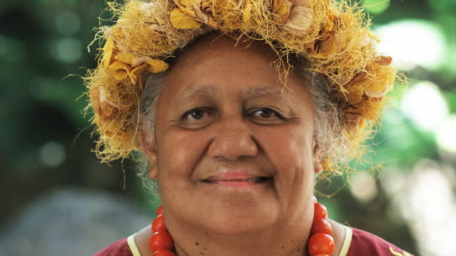 pacific islander woman looking at camera - traditional clothing stock videos & royalty-free footage