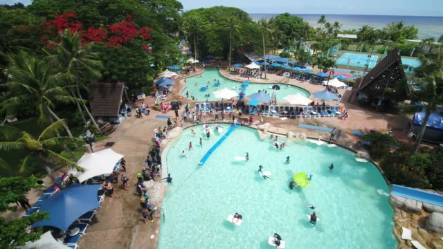 pacific islands club in tumon bay, guam, united states - water slide stock videos & royalty-free footage