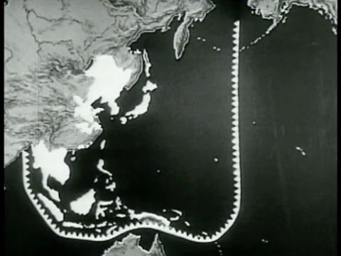 pacific map marking japanese defense lines. map: illustrations of atlantic convoy ships escorted routes to north west africa. - pacific war stock-videos und b-roll-filmmaterial
