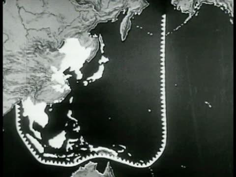 vidéos et rushes de pacific map marking japanese defense lines. map: illustrations of atlantic convoy ships escorted routes to north west africa. - vaisseau de guerre