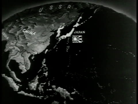 vídeos de stock, filmes e b-roll de pacific map showing japanese conquests - 1943