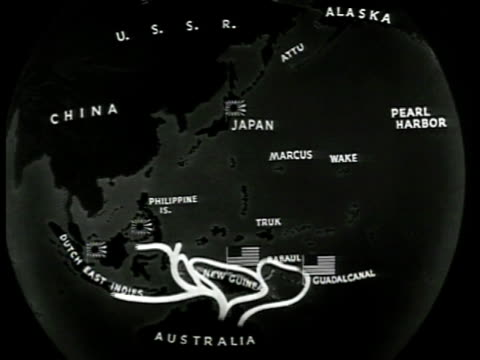 pacific map three plans us & british forces moving from island to island toward japan. attacking japan from china & aleutian islands. '?' on... - 1943 stock-videos und b-roll-filmmaterial