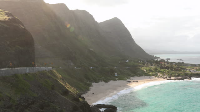 pacific ocean and mountain view in hawaii - hawaiian culture stock videos & royalty-free footage